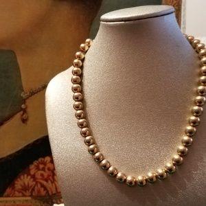 Gold Bead Choker Strand Necklace
